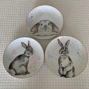 Pier 1 Elegant Gray Bunnies Porcelain Plates~3